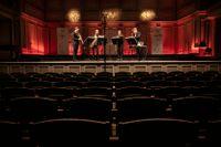 Stockholms Saxofonkvartett håller livestreamad konsert utan publik på Musikaliska i Stockholm.