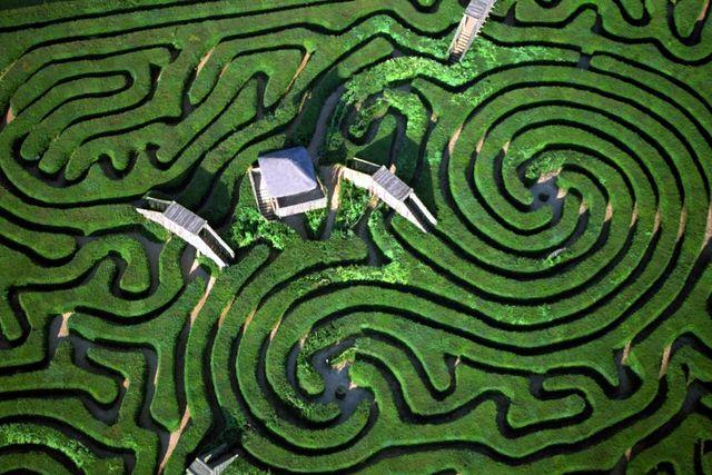 Trädgårds-labyrintens sex broar ger förhopp-ningsvis viss orientering.