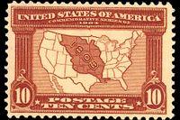 Amerikanskt frimärke med en karta över den franska kolonin Louisiana.