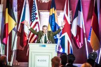 Nigel Farage, ledare för det EU-fientliga brittiska partiet Ukip, talade på Sverigedemokraternas gala på fredagen.