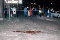 Mordplatsen vid Sveavägen i Stockholm.