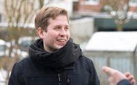 Kevin Kühnert, ordförande för Socialdemokraternas ungdomsförbund Jusos, vid ett kampanjmöte i Hamburg.