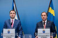 Statsminister Stefan Löfven och Estlands premiärminister Taavi Roivas vid dagens gemensamma presskonferens på Rosenbad.