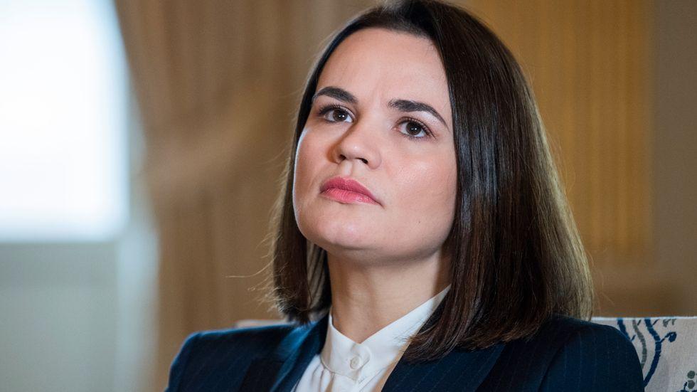 Den belarusiska oppositionsledaren Svetlana Tichanovskaja vid ett besök i Stockholm.