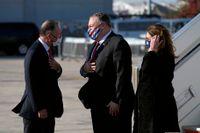 USA:s utrikesminister Mike Pompeo och hans fru Susan tas emot på Israels storflygplats Ben Gurion på onsdagen.
