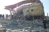 """""""Dialog"""" i Syrien: resterna av sjukhuset i Adlib-provinsen som bombades på måndagen."""