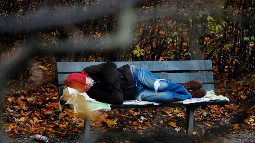Uteliggare i en park i Stockholm.