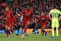 """Liverpool gjorde det """"omöjliga"""" möjligt, när laget gjorde fyra mål och vände 0–3 till 4–3 mot Barcelona. Divock Origi jublar efter det avgörande målet."""