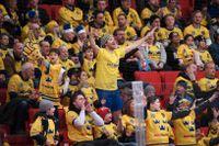 Svenska hockeysupportrar i Globen. Arkivbild.