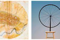 """Leonardo da Vincis karta över Imola samt Marcel Duchamps """"Cykelhjulet""""."""