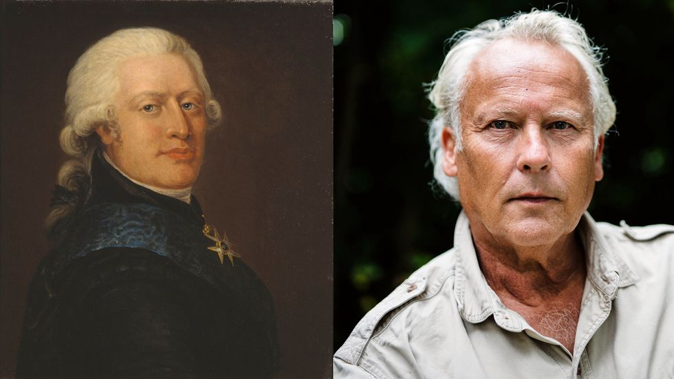 Adolf Fredrik Munck porträtterad av Jonas Forsslund (1754–1809). Till höger: Klas Östergren.