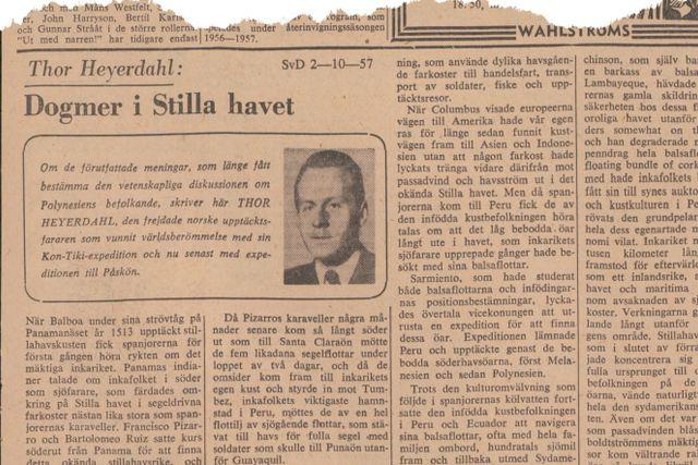 Denna artikel publicerades i SvD den 2 oktober 1957.