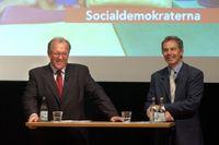 Statsminister Göran Persson fick draghjälp i valrörelsen av partikollegan Tony Blair, 4/9 2002.