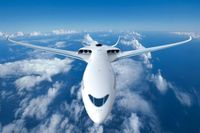 Så här kan ett eldrivet flygplan möjligen se ut i framtiden enligt Airbus. Bilden är skapad i dator.