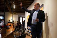 Demokratiska partiets ledare Nicola Zingaretti vid en presskonferens i samband med de italienska valen på måndagen.