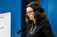 Utbildningsminister Anna Ekström (S) under torsdagens pressträff.