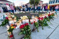 Minnesplats efter morden i Kongsberg där fem personer dödades.