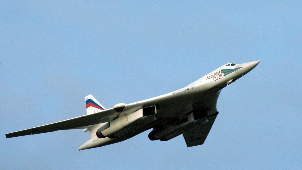 Ryskt strategiskt bombplan av typen Tu-160. Arkivbild.