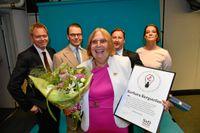 Barbara Engström jublad över utmärkelsen. Hon fick ta emot priset av prins Daniel och SvD:s chefredaktör Fredric Karén.