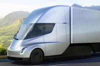 Detta foto, som är framtaget av Tesla, visar hur företagets nya ellastbil skulle se ut.