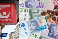 Svenska Spel-ombud och  svenska pengar.