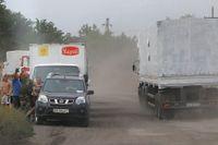 Den ryska hjälpkonvojen på väg mot staden Luhansk.