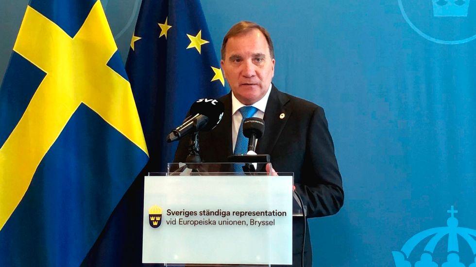 Statsminister Stefan Löfven (S) på den svenska EU-representationen i Bryssel. Arkivbild.
