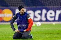 Zlatan Ibrahimovic på tisdagens träning inför kvällens CL-match mot Dinamo Zagreb.