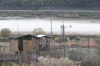 Gränsområdet mellan Sydkorea och Nordkorea. Bild från i april.