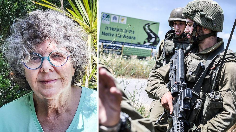 Julia Chaitin, till vänster, upplever att det redan är krig. Till höger israeliska soldater.