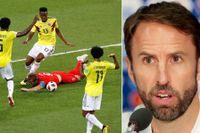 """""""Vi gör bara som alla andra, medger förbundskaptenen Gareth Southgate"""". Till vänster faller Harry Kane i straffområdet i matchen mot Colombia."""