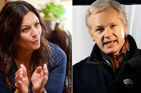 Advokat Elisabeth Massi Fritz och Julian Assange.