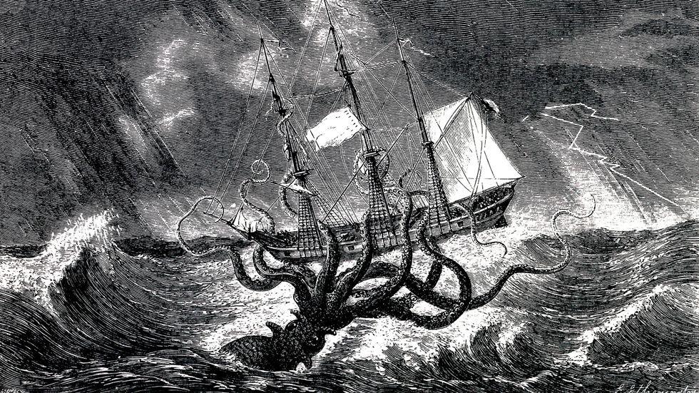 """Den gigantiska bläckfisken """"kraken"""", ett havsmonster som länge förekom i nordisk fiskar- och sjömanstradition."""