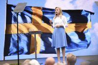 Kristdemokraternas partiledare Ebba Busch Thor under sitt tal i Almedalen.