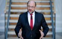 Martin Schulz, ledare för tyska Socialdemokraterna, vid en presskonferens inför söndagens förhandlingar med Angela Merkels kristdemokratiska union.