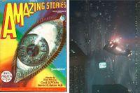 """Scen ur Ridley Scotts """"Blade runner"""" från 1982. Till vänster sf-magasinet Amazing Stories från 1928."""
