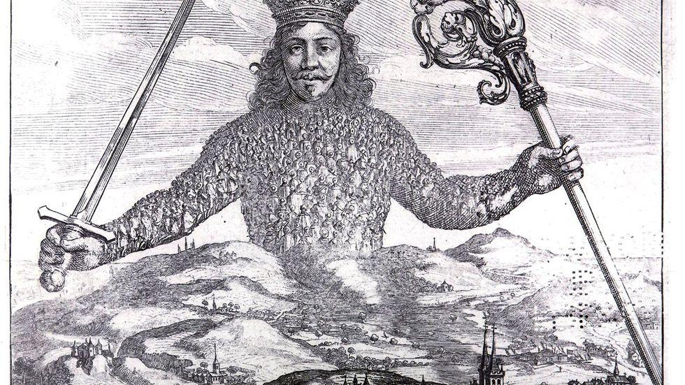 "Detalj ur framsidan på Thomas Hobbes ""Leviathan"""