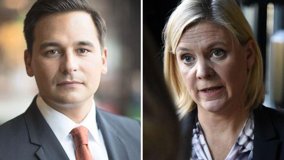 Andreas Hatzigeorgiou, chefsekonom, vid Stockholms Handelskammare, till vänster. Finansminister Magdalena Andersson, till höger.