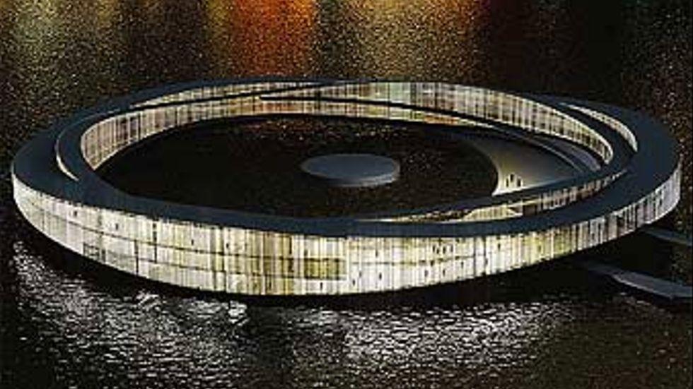 Gärna ett flytande hotell med kallbad, men inte i Riddarfjärden. Modellgrafik:SandellSandberg