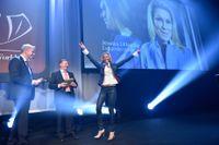 SvD:s chefredaktör Fredric Karén, Carnegies vd Björn Jansson och pristagaren Jessica Löfström.