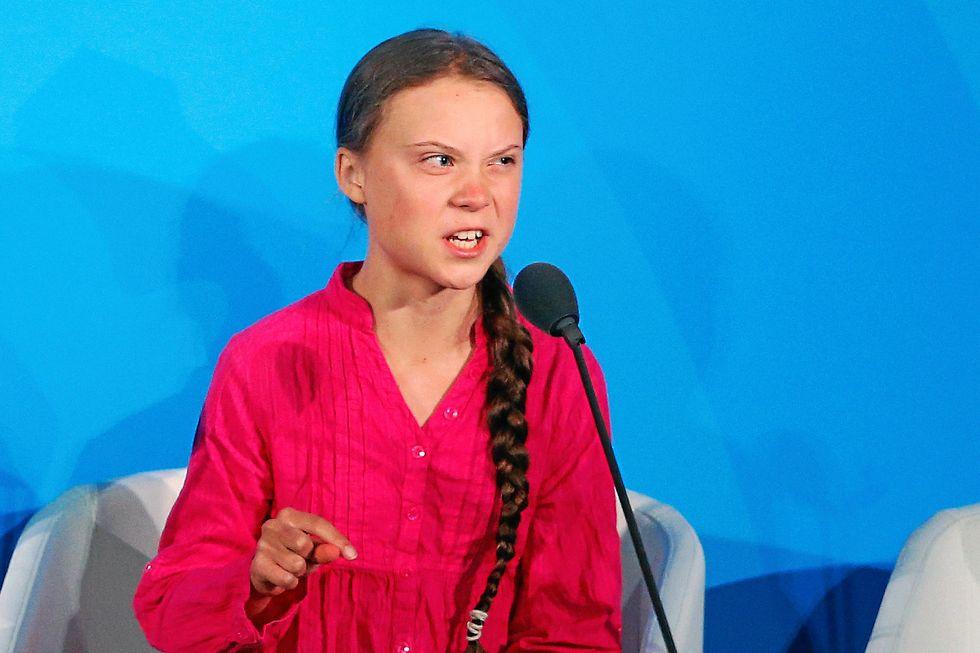 Greta Thunberg i FN:s högkvarter.