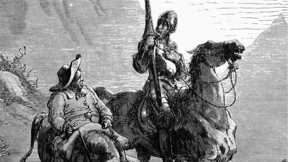 Don Quijote och Sancho Panza visar att det är skillnad på att ha erfarenheter och att göra dem. Gravyr av Gustave Doré från 1863.