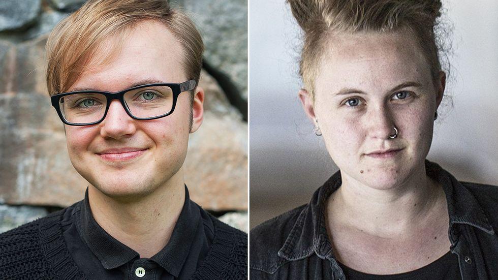 Frank Berglund, ordförande för RFSL Ungdom, och Emelie Mire Åsell, talesperson i trans- och intersexfrågor för RFSL.