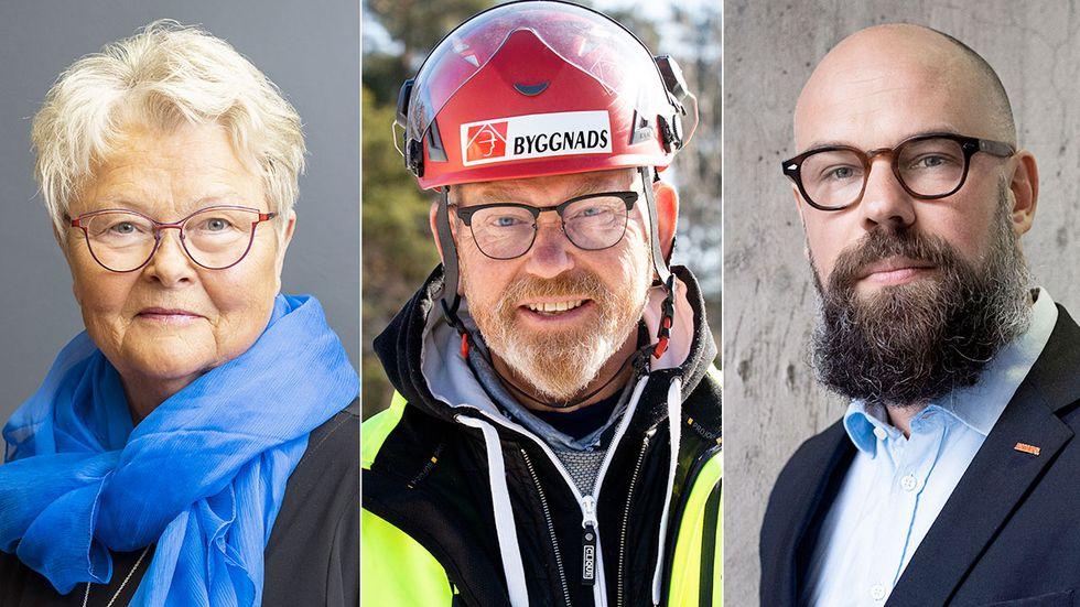 Eva Eriksson, SPF Seniorerna, Johan Lindholm, Byggnads, och Daniel Suhonen, Katalys.