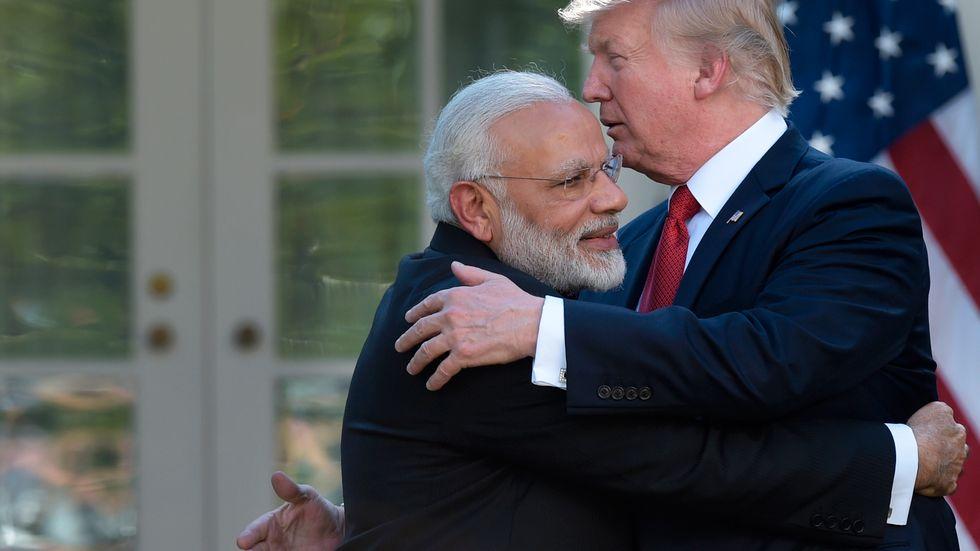 USA:s president Donald Trump och Indiens premiärminister Narendra Modi efter måndagens möte i Vita huset.