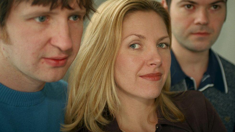 Sarah Cracknell, sångerska i Saint Etienne och Andres Lokkos före detta hyresvärd. Stockholm 1998.