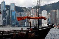 Spänt i Hongkong. Bild från Victoria Harbour i förra veckan.