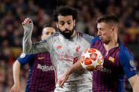 Mohamed Salah, vänster, kan inte spela i returen mot Barcelona.