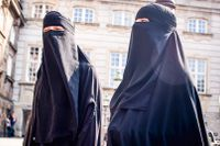 Niqab-demonstration i Köpenhamn 2018.