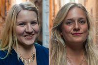 Lovisa Kronsporre och Milena Axklo från Centerpartiers ungdomsförbund.